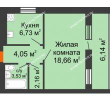 1 комнатная квартира 38,2 м², ЖК Дом у озера - планировка