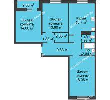 3 комнатная квартира 77,9 м² в ЖК Корабли, дом № 1 - планировка