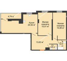 2 комнатная квартира 82,62 м² в ЖК Карамель, дом № 1 - планировка