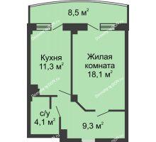 1 комнатная квартира 47,1 м² в ЖК Новый Город, дом № 2 - планировка