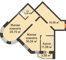 2 комнатная квартира 100 м², ЖК На Владимирской - планировка
