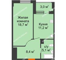1 комнатная квартира 44,9 м² в ЖК Квартет, дом № 3 - планировка