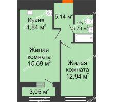 1 комнатная квартира 43,87 м² в ЖК Дом на Набережной, дом № 1 - планировка