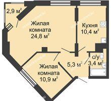 2 комнатная квартира 54,8 м², Жилой дом: ул. Сазанова, д. 15 - планировка