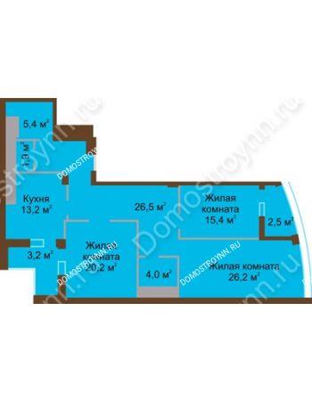 3 комнатная квартира 118,5 м² в ЖК Монолит, дом № 89, корп. 1, 2