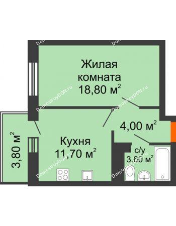 1 комнатная квартира 37,8 м² в ЖК Я, дом  Литер 2
