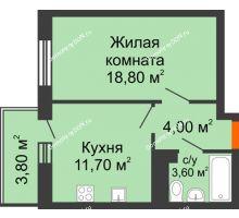 1 комнатная квартира 37,8 м² в ЖК Я, дом  Литер 2 - планировка