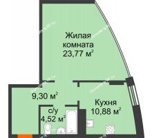 1 комнатная квартира 48,48 м², ЖК Atlantis (Атлантис) - планировка