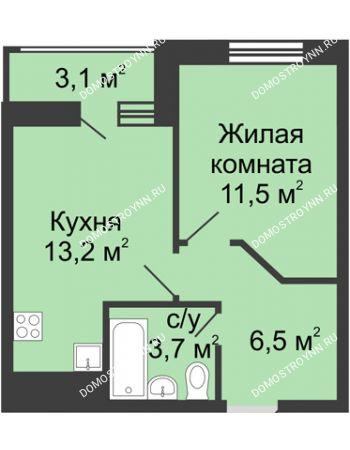 1 комнатная квартира 36,45 м² в ЖК Цветы, дом № 10