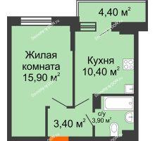 1 комнатная квартира 35,8 м² в ЖК Династия, дом Литер 2 - планировка
