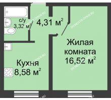 1 комнатная квартира 32,6 м² в ЖК Корабли, дом № 6