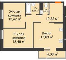 2 комнатная квартира 59,47 м² в OK Salut (Салют), дом ГП-6 - планировка