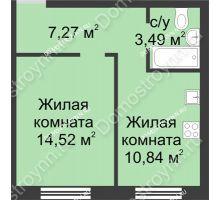 1 комнатная квартира 36,12 м² в ЖК Солнечный, дом д. 161 А/1