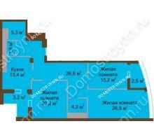 3 комнатная квартира 119 м² в ЖК Монолит, дом № 89, корп. 1, 2 - планировка