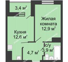 1 комнатная квартира 35,8 м² в ЖК Цветы, дом № 11 - планировка