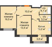 2 комнатная квартира 62,5 м² в ЖК Цветы 2, дом № 7 - планировка
