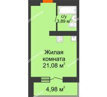 Студия 27,46 м² в ЖК КМ Анкудиновский парк, дом № 20 - планировка