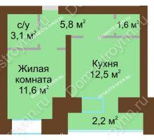 1 комнатная квартира 39 м² в ЖК Рубин, дом № 67