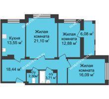3 комнатная квартира 91,11 м² в ЖК Планетарий, дом № 6 - планировка