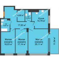 3 комнатная квартира 122,17 м², ЖК Царское село - планировка