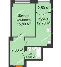 1 комнатная квартира 43 м², ЖК Гагарин - планировка