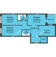 3 комнатная квартира 96,4 м² в ЖК Новоостровский, дом № 2 корпус 1 - планировка