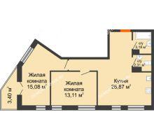 2 комнатная квартира 63,95 м² - ЖК Пушкин
