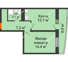 1 комнатная квартира 39,8 м² в ЖК Звезда Столицы, дом Литер 9 - планировка
