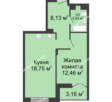 1 комнатная квартира 44,45 м² в ЖК Клевер, дом № 1