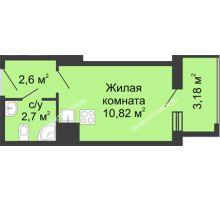Студия 19,3 м² в ЖК Красная поляна, дом №3 - планировка