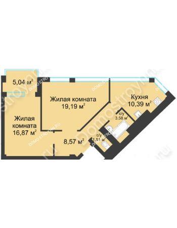 2 комнатная квартира 62,63 м² в ЖК Воскресенская слобода, дом №1