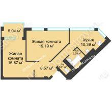 2 комнатная квартира 62,63 м² в ЖК Воскресенская слобода, дом №1 - планировка