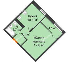 1 комнатная квартира 39,3 м² в ЖК Андерсен парк, дом ГП-1 - планировка