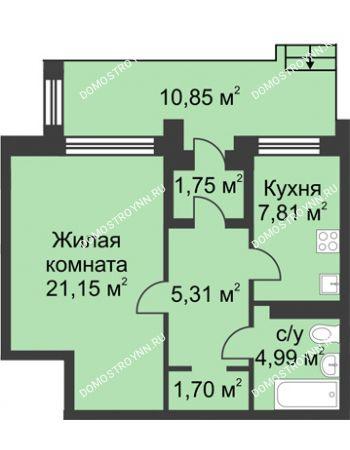 1 комнатная квартира 42,71 м² в КП Каштановый дворик, дом Тип 1