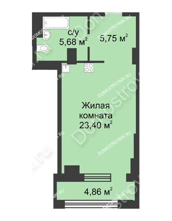Студия 37,26 м² в ЖК Караваиха, дом № 5
