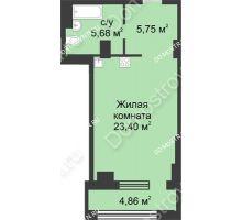 Студия 37,26 м² в ЖК Караваиха, дом № 5 - планировка
